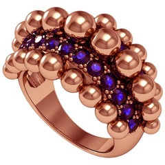 Melody Deldjou Fard & Sparkles 18 Karat Rose Gold and Sapphire Ring