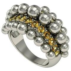 Melody Deldjou Fard & Sparkles 18 Karat White Gold and Citrine Ring