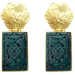 Cherry Blossom 18 Karat Gold Earrings with Antique Turquoise