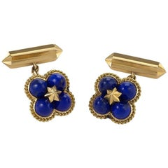 Marchak Paris 1960s Lapis Lazuli and Gold Cufflinks