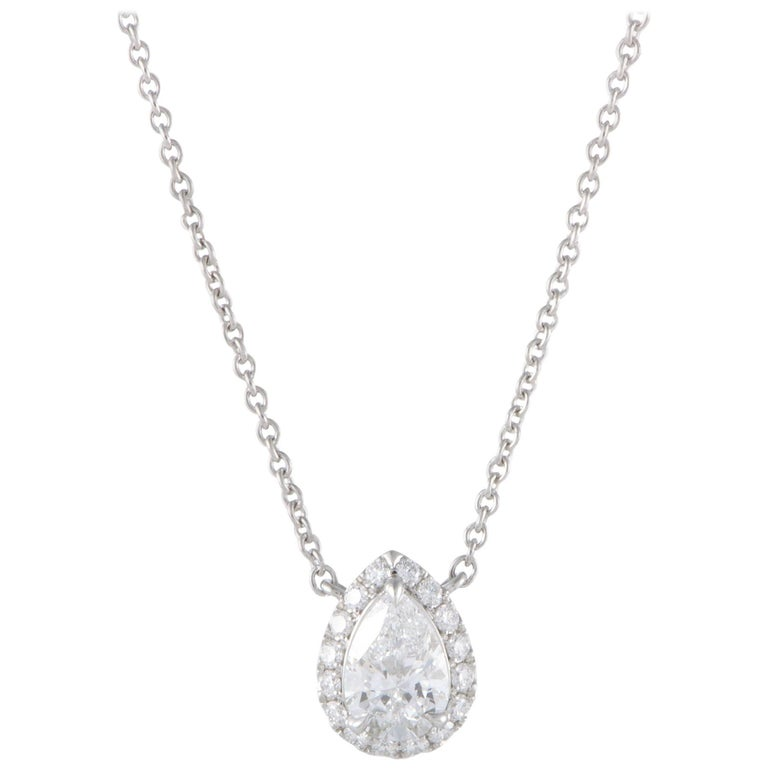Harry Winston Diamond Platinum Pear Shape Pendant Necklace