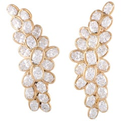 Oscar Heyman Diamond Cluster Yellow Gold Omega Earrings