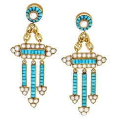 Antique Turquoise Pearl and Gold Girandole Ear Pendants