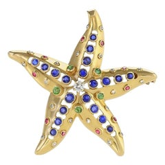 René Boivin Sapphire, Diamond, Emerald, Ruby and Gold Starfish Brooch