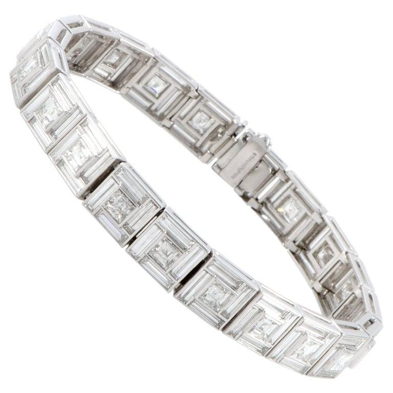 Tiffany & Co. Diamond Platinum Square Link Bracelet For Sale