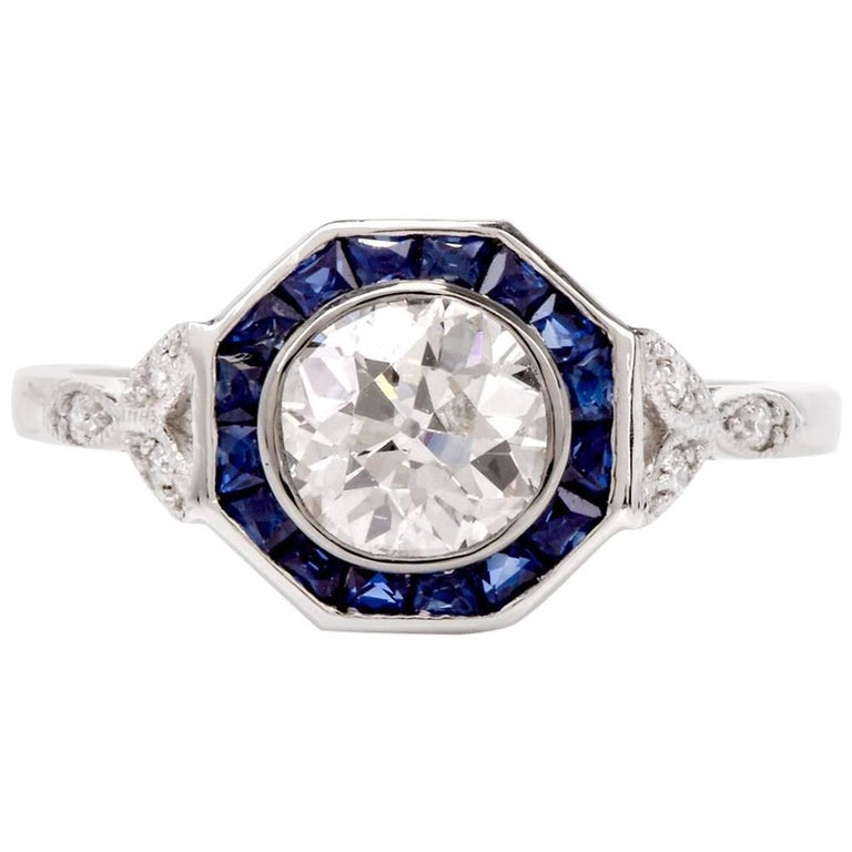 Old European Diamond Sapphire Platinum Engagement Ring