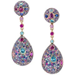 Zorab Creation 12.76 Ct Sapphire and 6.73 Ct Semiprecious Teardrop Earrings