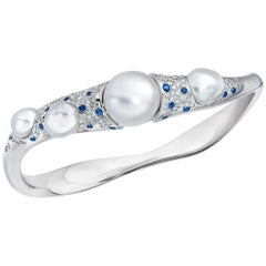 Autore Baroque Pearl and 1.47 Carat Diamond and Sapphire Bangle