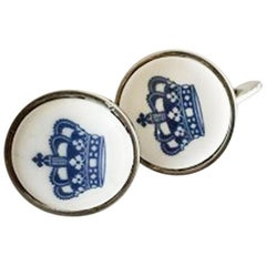 Georg Jensen Sterling Silver Cuff Links with Porcelain Button by Royal Copenhage