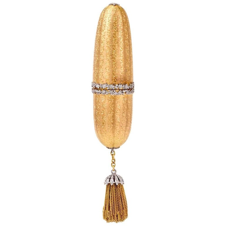 Mario Buccellati Vintage Yellow Gold Lipstick Case with White Gold Applique