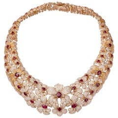 Carrera y Carrera Imperial Seda Collection Orquideas 18K Diamond Ruby Necklace