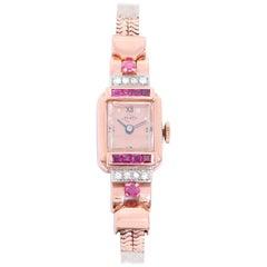 Pery Ladies Rose Gold Diamond Ruby Vintage Manual Wristwatch