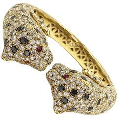 Diamond Encrusted Cheetah Cuff 18 Karat Yellow Gold  Bracelet