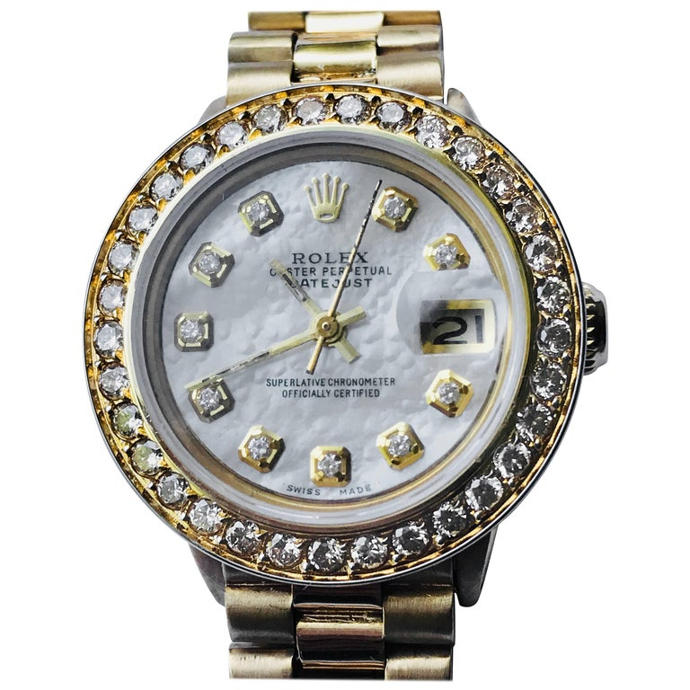 Rolex Datejust Yellow Gold Ladies Diamond President Wrist Watch