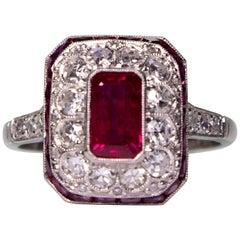 Modern Art Deco Style  2.05 Carat Rubi 'GIA Certified' and Diamond Ring