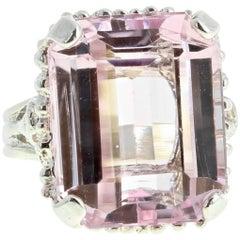 18 Carat Kunzite Sterling Silver Ring