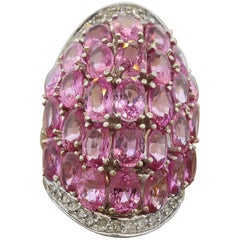 Pink Sapphire Diamond Gold Cocktail Ring