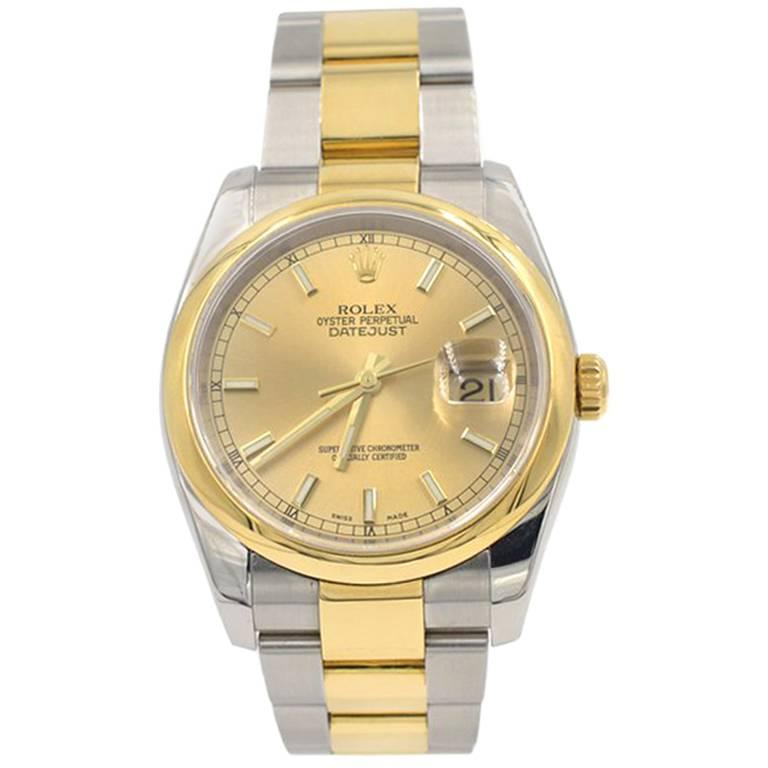 Rolex yellow Gold Stainless Steel Datejust Wristwatch Ref 116203, 2007