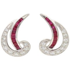 JE Caldwell Art Deco Ruby and Diamond Platinum Earrings