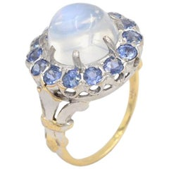 Vintage Moonstone and Sapphire 14 Karat Gold Cluster Ring