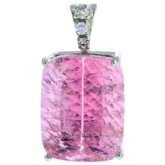 22.5 Carat Kunzite and Diamond White Gold Pendant