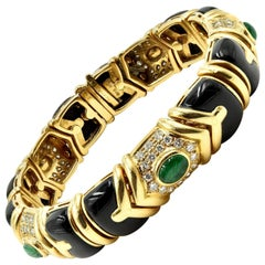 Diamond, Emerald and Black Onyx Bracelet 18 Karat Yellow Gold