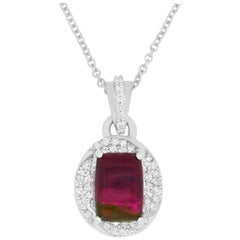 2 Carat Watermelon Tourmaline and Diamond Pendant