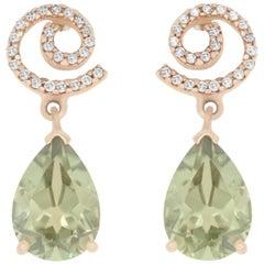 4.10 Carat Pear Shaped Color Change Diaspore and Diamond Stud Earrings