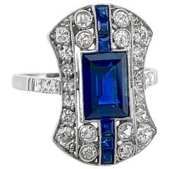 2.15 Carat Total Weight Sapphire Diamond Antique Fashion Ring Platinum