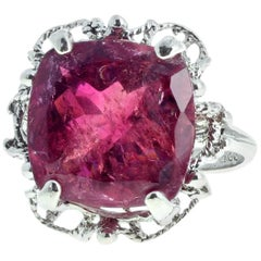 9.71 Carat Red Tourmaline Sterling Silver Ring