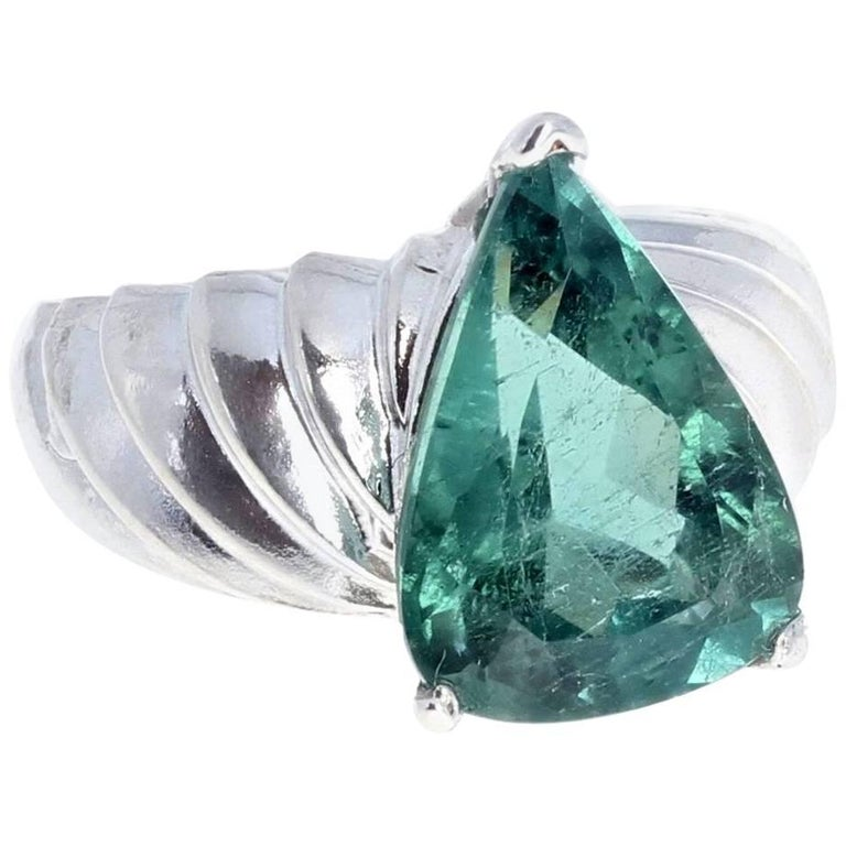 6.19 Carat Green Tourmaline Sterling Silver Ring