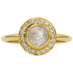 Rachel Boston 18 karat Yellow Gold Grey Rose Cut Diamond Engagement Ring