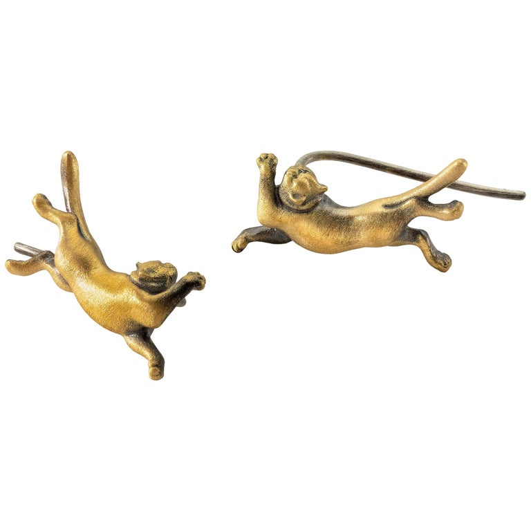 Wendy Brandes Playful Cat Gold Earring/Ear Climber