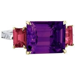 18 Karat Gold Amethyst 6.00 Carat, and Ruby 1.36 Carat and Diamond Ring