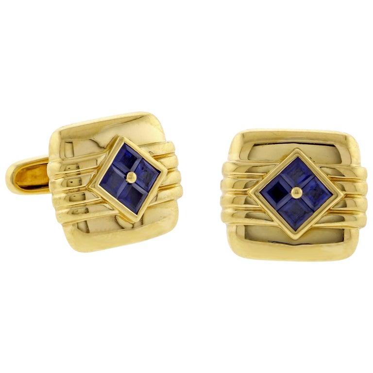 Van Cleef & Arpels Sapphire Gold Cufflinks