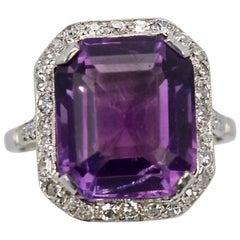 Vintage Amethyst Diamond Ring Platinum