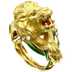 Diamond and Enamel Yellow Gold Lion Bangle Bracelet