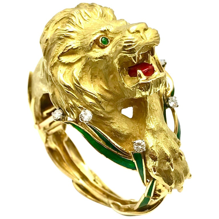 Diamond and Enamel Yellow Gold Lion Bangle Bracelet For Sale