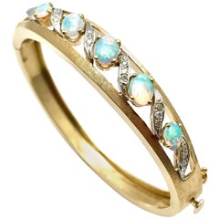 Jelly Opal and Diamond 14 Karat White and Yellow Gold Bangle Bracelet