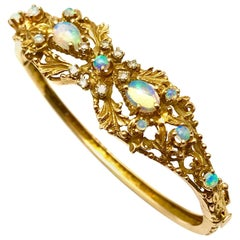 Opal and Diamond Yellow Gold Bangle Bracelet