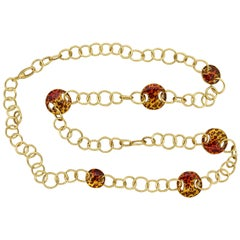 Enamel Cheetah Gold Hoop Link Necklace