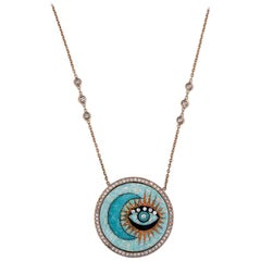 Moon and Eye Opal Inlay and Diamond Necklace
