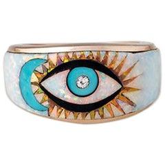 Moon and Eye Opal Inlay Ring