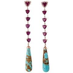 Ruby Trillion Turquoise Drop Earrings