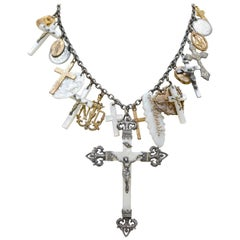 Jill Garber One of a Kind Antique Love Token Necklace with Mother-of-Pearl Cross
