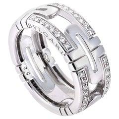Bulgari Parentesi Diamond Pave White Gold Band Ring