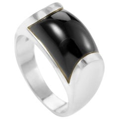 Bvlgari Tronchetto Women's 18 Karat White Gold Onyx Ring