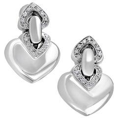 Bvlgari 18 Karat White Gold Diamond Heart Earrings