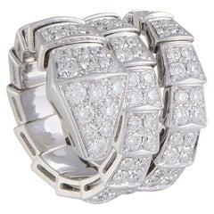 Bvlgari Serpenti 18 Karat White Gold Full Diamond Pave Snake Ring