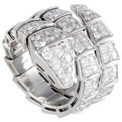 Bvlgari Serpenti 18 Karat White Gold Full Diamond Pave Wide Band Ring